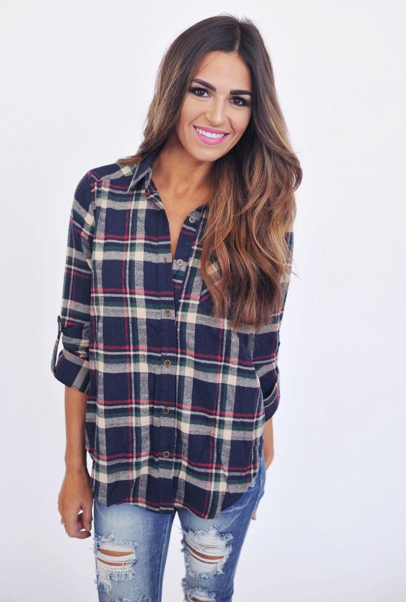 Navy Plaid Button Up - Dottie Couture Boutique