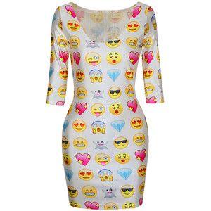 White Ladies Cute Emoji Printed Funny Chic Bodycon Dress