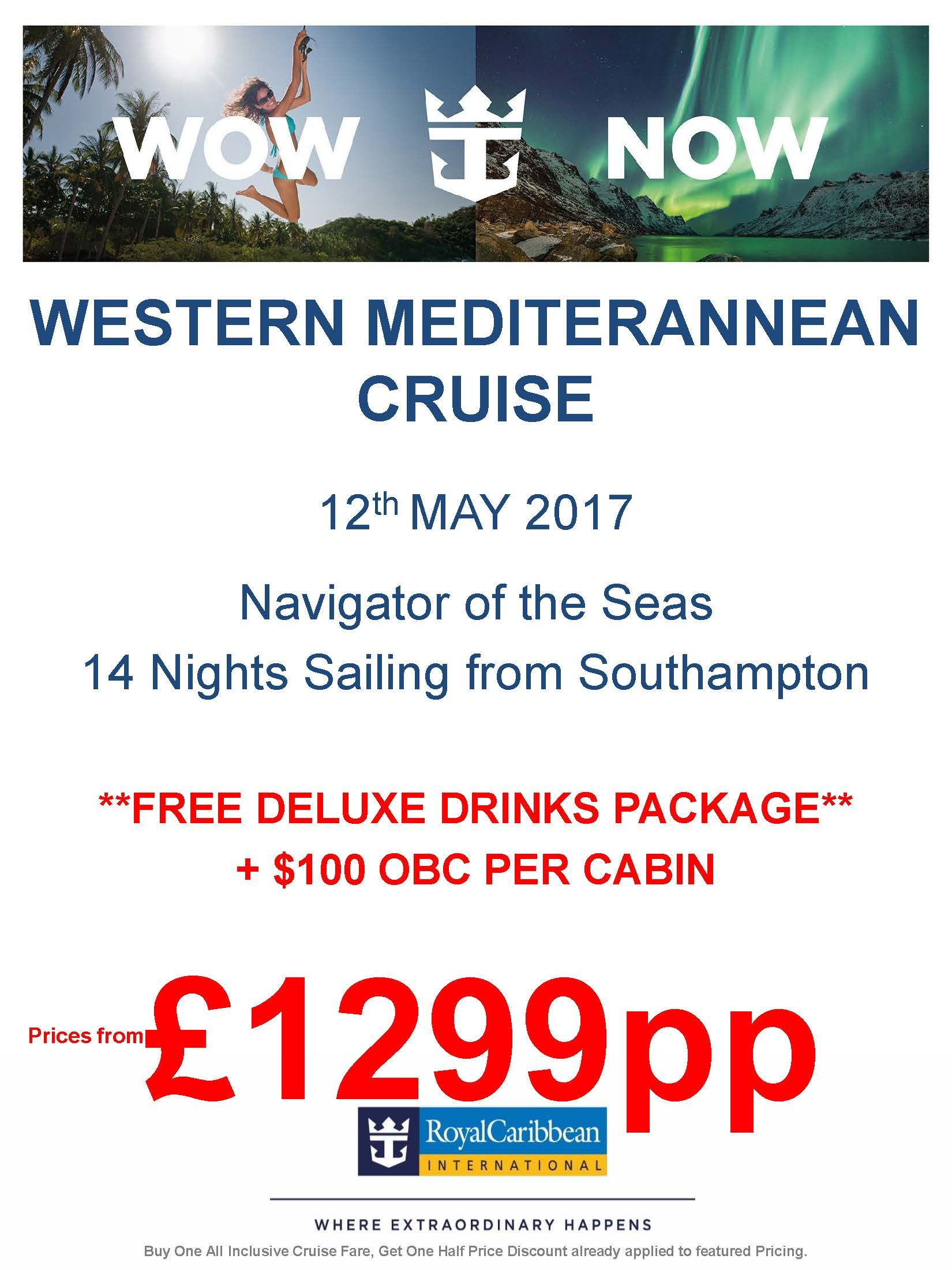 #rccl #lovecruise Western Med May 17 14ngts Southampton Departure **FREE DRINKS ** & ON BOARD SPEND!! WOW FROM £1299 PP call 0800 975 7584