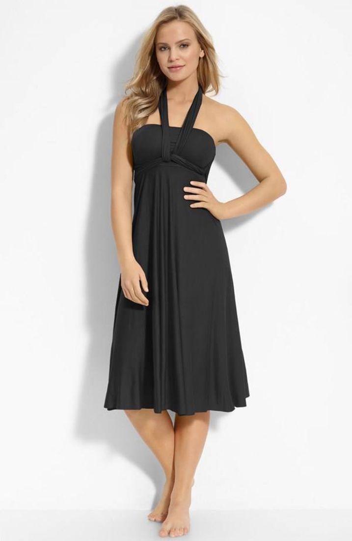 Elan black convertible coverup dress sz medium ftc