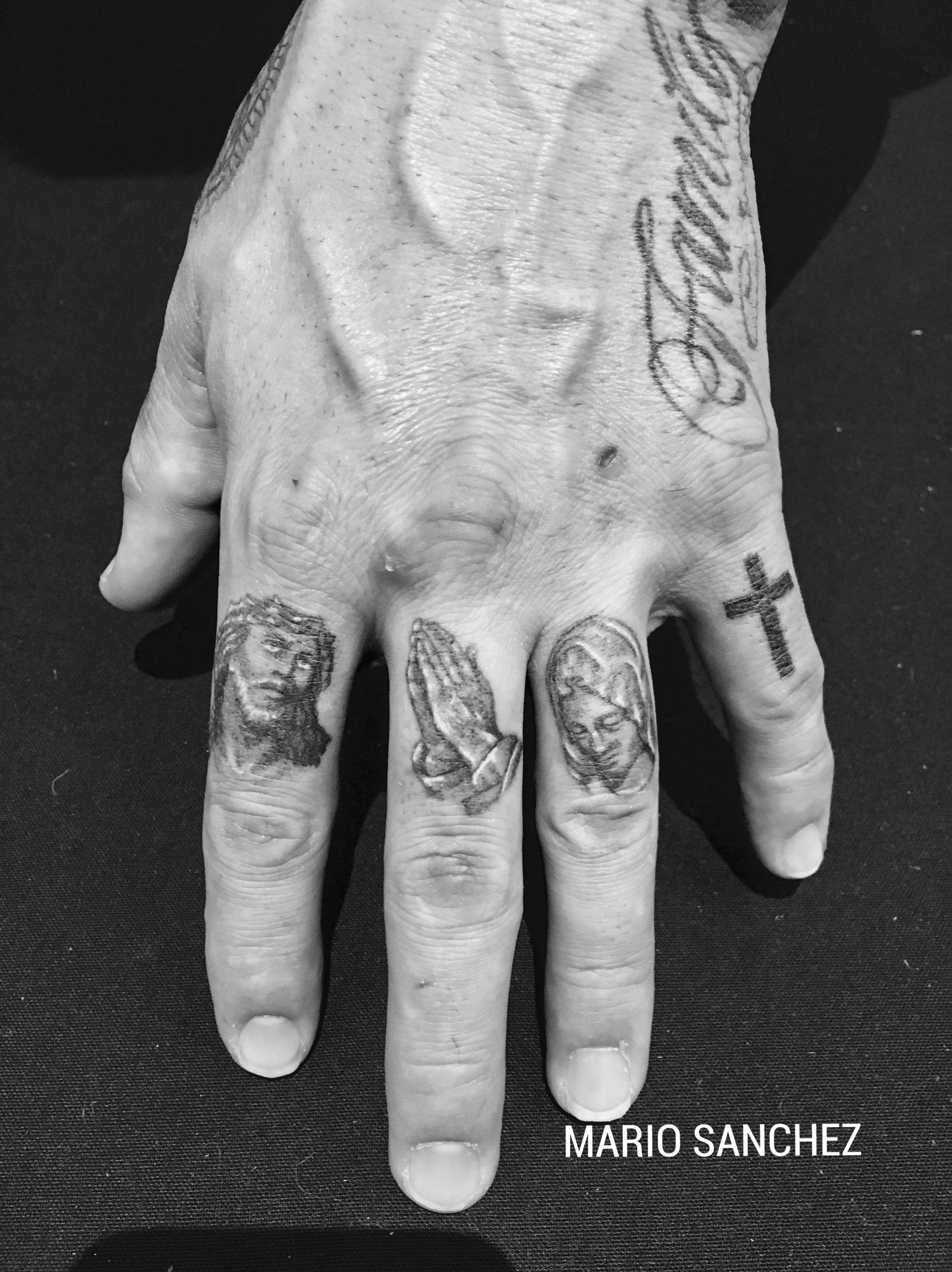 Miniature religious finger tattoos | Miniature Black ...