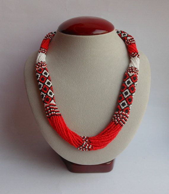 traditional ukrainian ethnic necklace jewelry beaded ukrainian coral red black white tribal necklace ukrainian embroidery ukrainian
