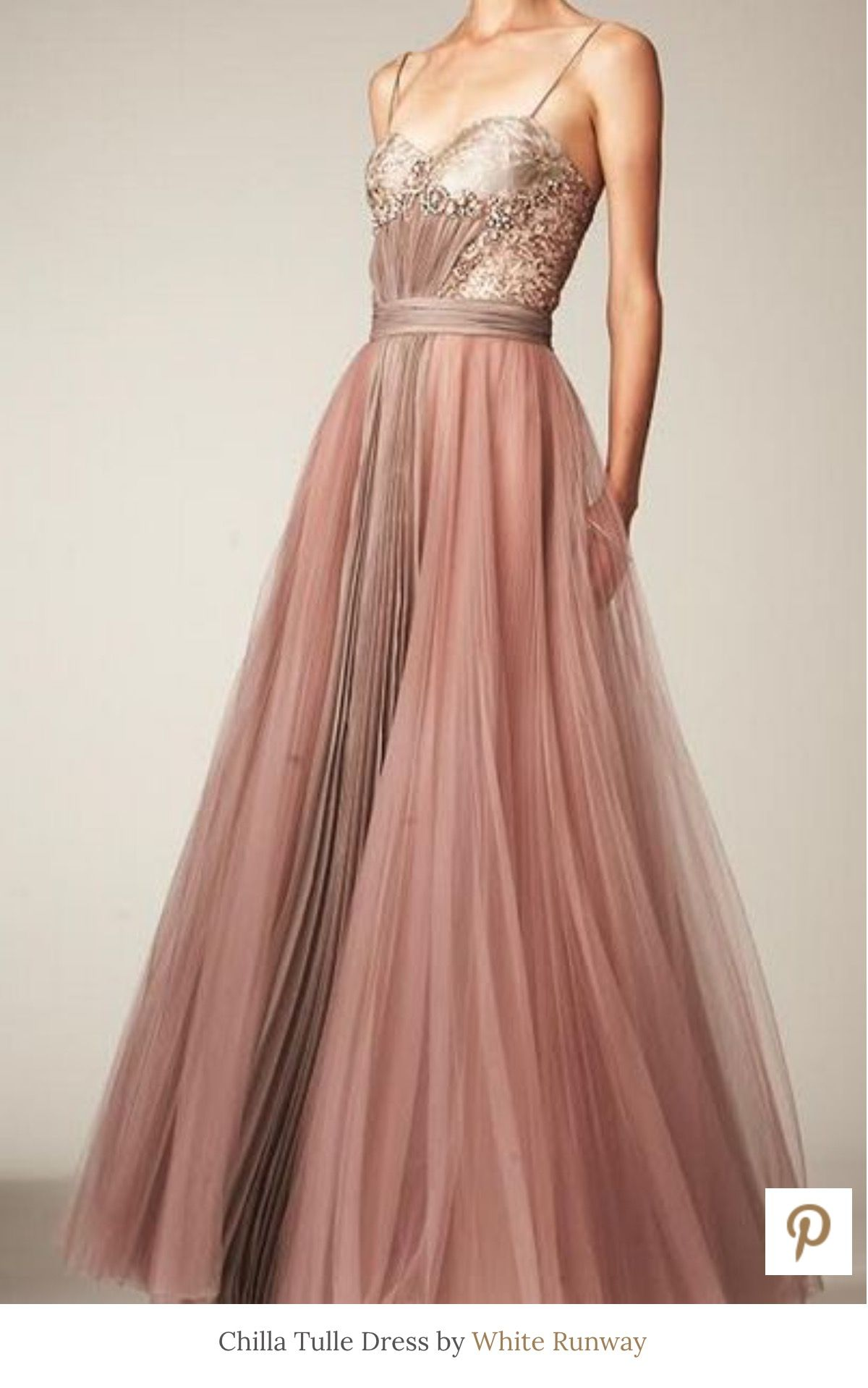 Chilla Tulle Gown By White Runway Dusty Pink