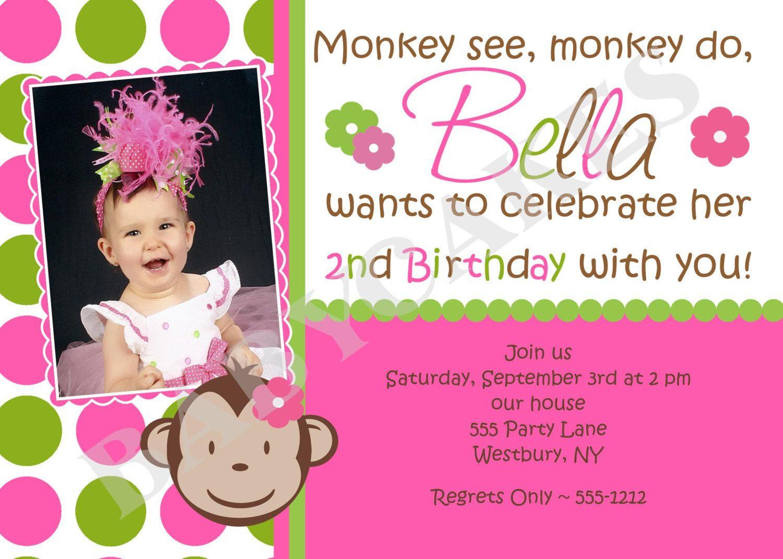 Mod monkey birthday invitation girl photo print your own matching mod monkey birthday invitation mod monkey girl matching party printables available filmwisefo Choice Image