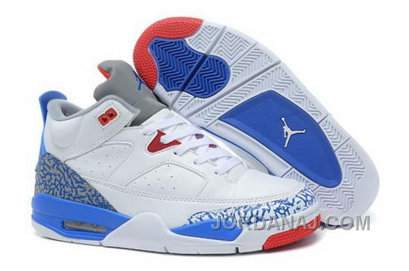 new products f4819 9498f Nike Basketball Shoes Son of Mars Low Cement Jordans White True Blue Fire  Red Cement Grey-Release. http   www.nbajordan.com promo-code-for-
