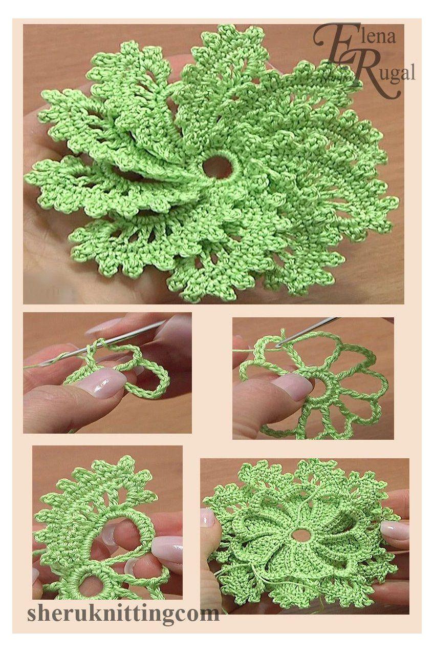 Crochet Spiral Flower 10 Petals Tutorial 54 #flowers