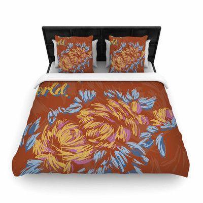 KESS InHouse Wonderful World Woven Duvet Cover Size: