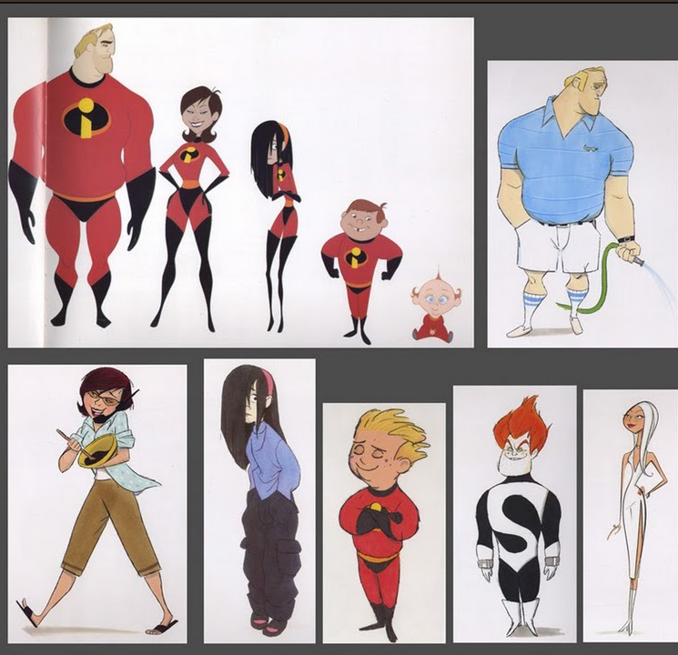Pixar Character Design Tips : Pixar the incredibles character design visual development