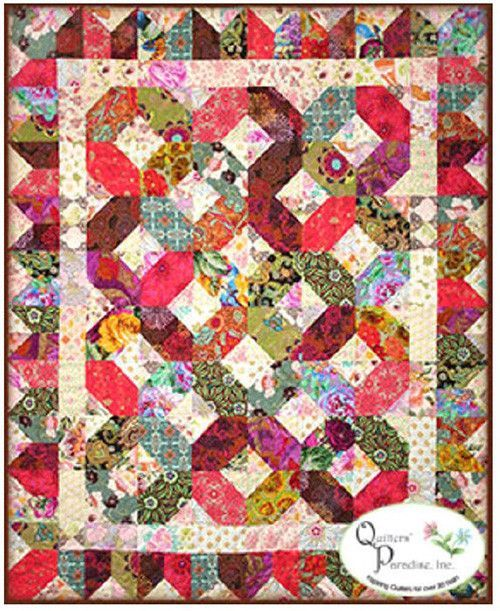 "This pattern uses light and dark fabrics to make this beautiful contrasting quilt design. The quilt is shown in Asian fabrics, but Batiks, florals and novelty prints would look stunning.Finished size: 54"" x 66"""