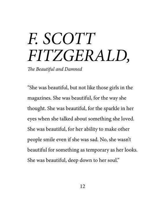 F Scott Fitzgerald She Was Beautiful Down To Her Soul Dorm Room Little Girl Room Office Fine Art Print Digital Copy Words Quotes Fitzgerald Quotes Words
