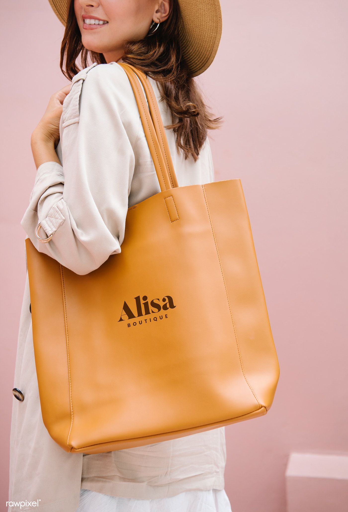 Download Download Premium Psd Of Woman Carrying A Brown Handbag Mockup 1215142