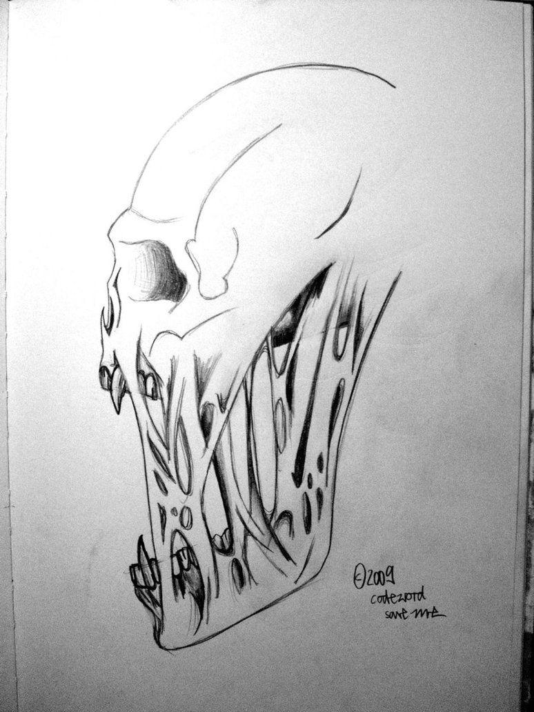 creepy skull by rabatzkatz on deviantart drawing 1 pinterest