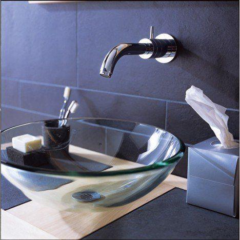 Vasque A Poser Verre Diam 39 5 Cm Transparent Luna Refection Des Murs Salle De Bain Vasque Salle De Bain Vasque