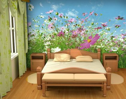 Beautiful And Wonderful Purple Japanese Flowers Garden Wall Murals Stickers  In Small Bedroom Decorating Ideas