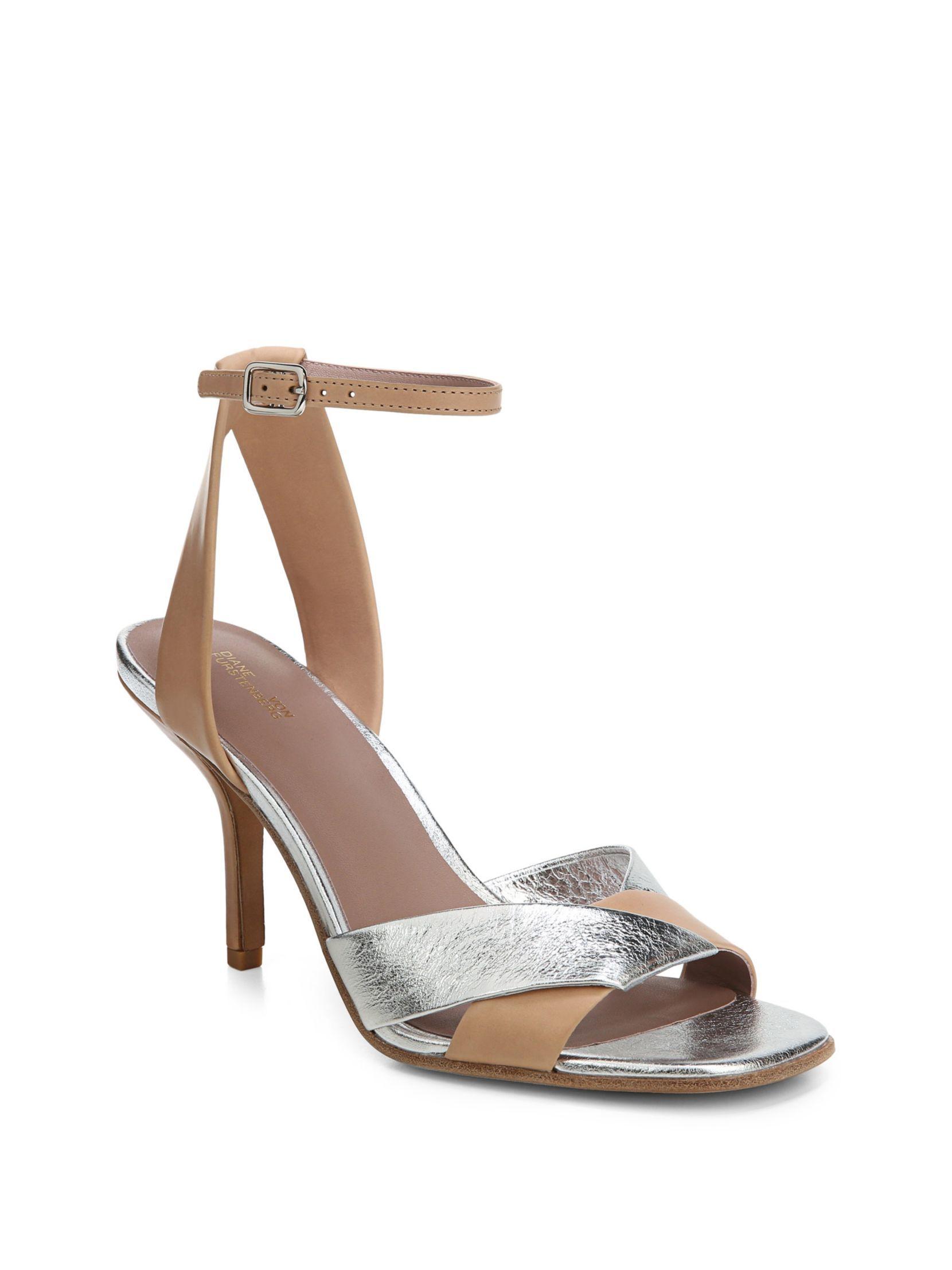 Diane von Furstenberg Fiona Cappuccino Metallic Heels vOGsRyAPp5