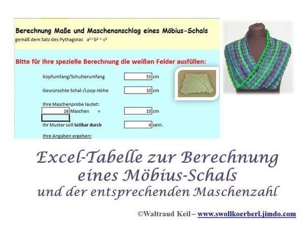 Excel Tabelle Zur Möbius Schal Berechnung Stricken Pinterest