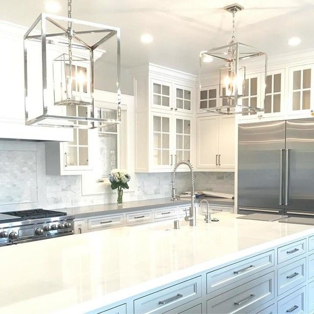 Circa Lighting Osborne Lantern pair over kitchen island pendant ...