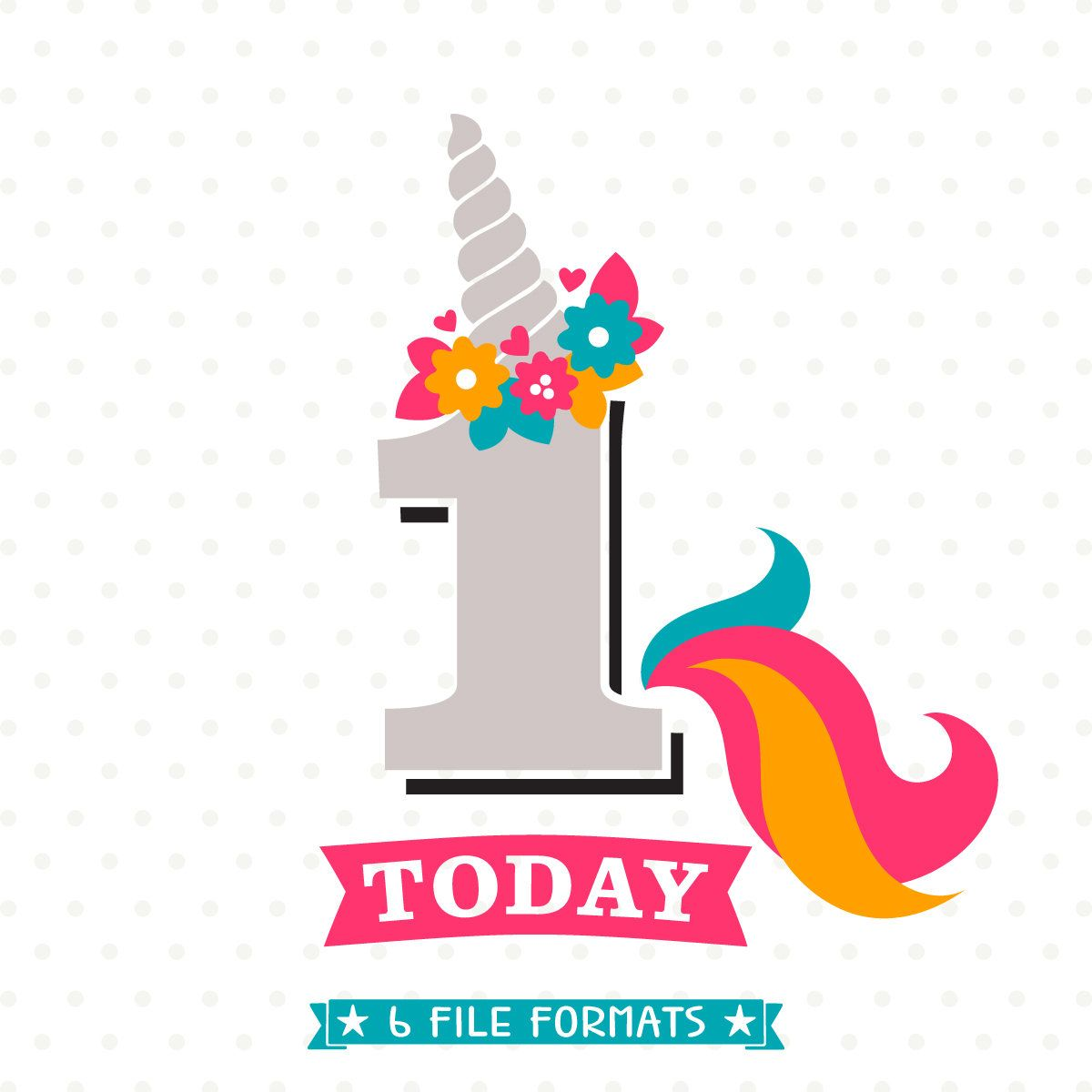 Unicorn Birthday SVG, 1st Birthday SVG, Girls Birthday