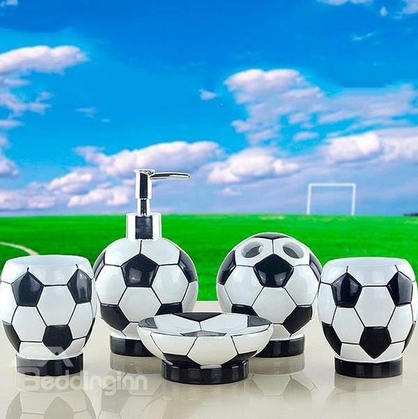 Creative Fashion Football 5 Piece Resin Bath Accessories