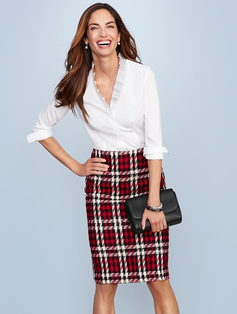 d7d34f8261 This gorgeous, merry plaid pencil skirt is just what your wardrobe needs  for holiday office parties.