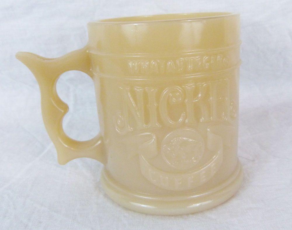 Whataburger Nickel Coffee Mug Cup Collectible.Buffalo 5 Cents Caramel Glass New