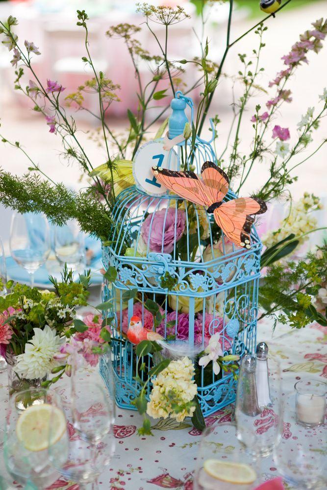Blue birdcage and flowers centerpiece deer pearl