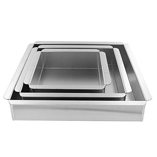cake pan set of 3 square 2 inches 6 8 10 by