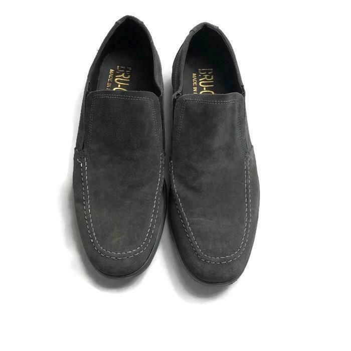 Bru-Ger NEw Men's Shoes Made in Italy Size 42 . USA size 9 Gray Casual 1082P #BruGer #LoafersSlipOns | Brand name shoes. Men's shoes. Dress shoes men
