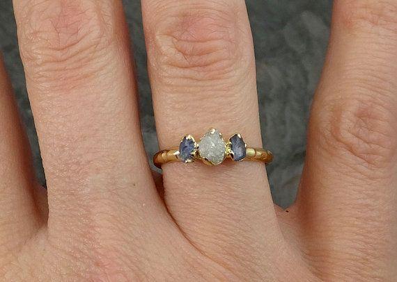Dainty Raw Sapphire Diamond Gold Engagement Ring by byAngeline