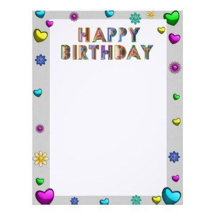 Birthday Stationary Letterhead - birthday gifts party celebration