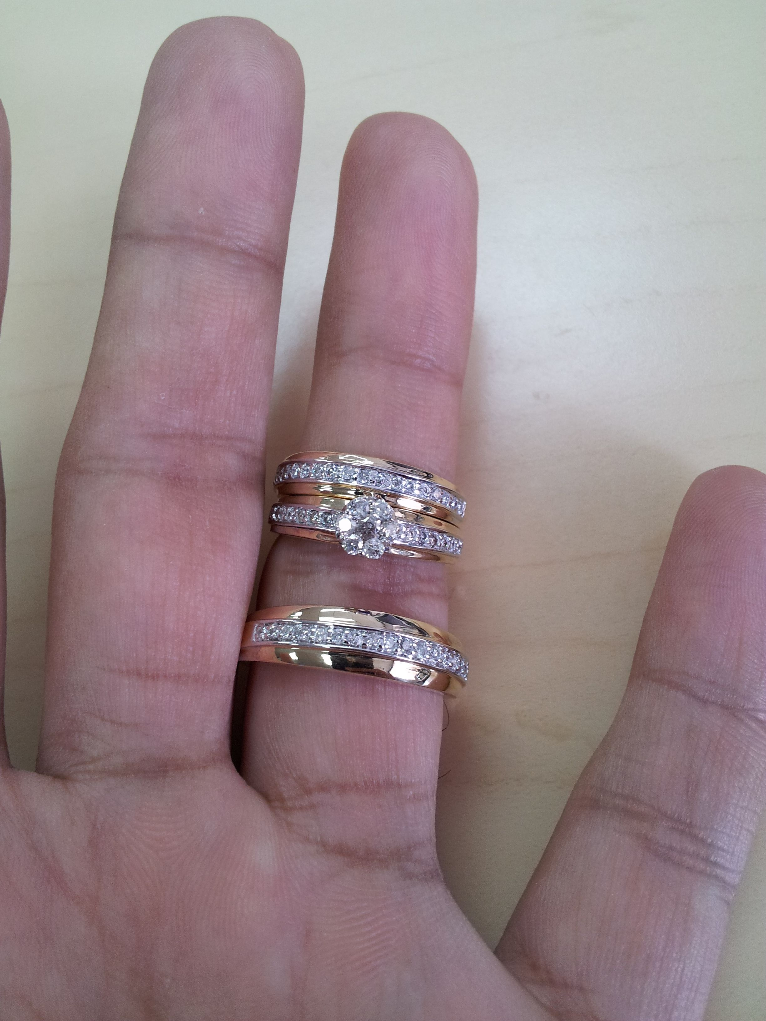 Rings On Hand Trio Ring Set Bt114y Engagement Ring Ladies Wedding Band Mens Wed Matching Wedding Ring Sets Matching Wedding Rings Engagement Rings Couple