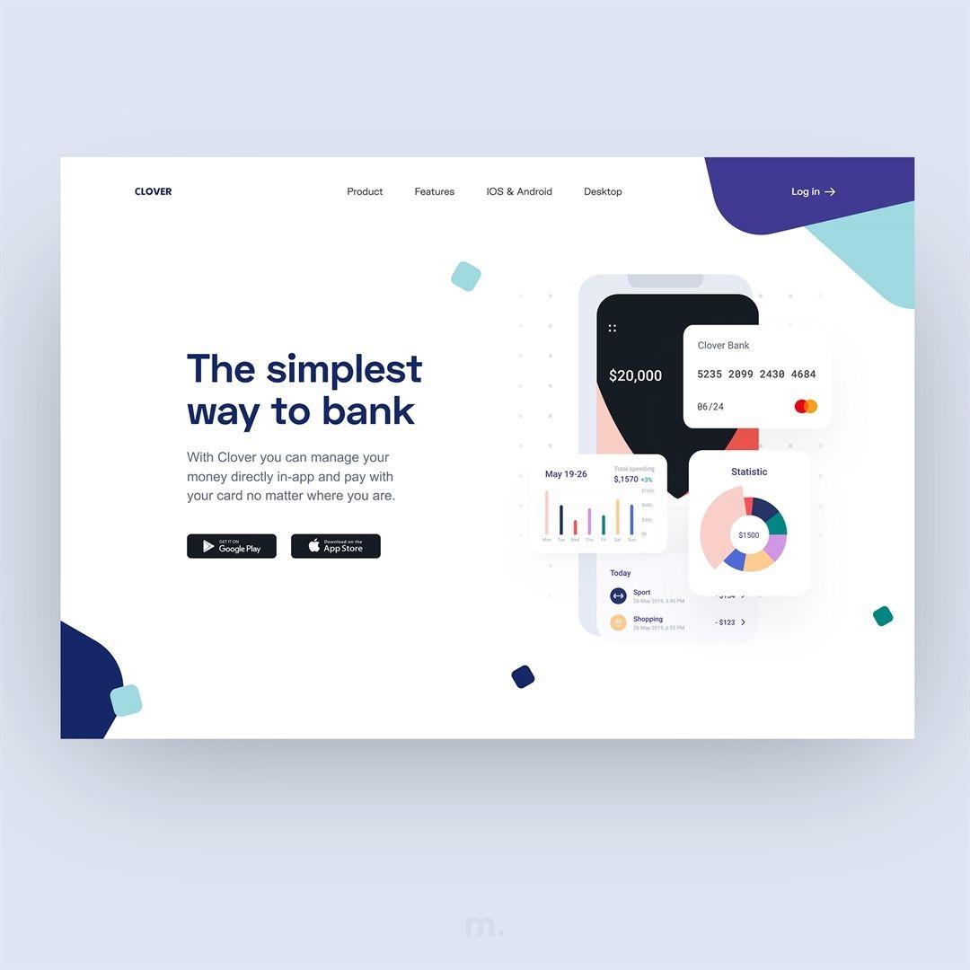 Web Design Inspiration On Instagram Neobank Hero Section By Dribbble Com Vadimdrut Personal Account Web Design Inspiration Web Design Branding Inspiration