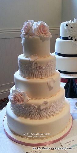 5 Tier Elegant Roses and Lace Wedding Cake | Flickr - Photo Sharing! www.joscakes.net twitter: @joscakeshudds Facebook: www.facebook.com/joscakeshudds