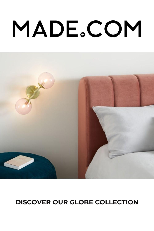Globe Wall Light, Brushed Brass and Blush Pink Glass