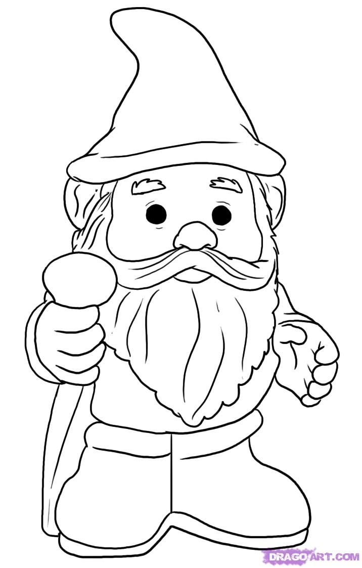 How To Draw A Gnome Step By Step Stuff Pop Culture Free Online Drawings Gnomes Crafts Coloring Books