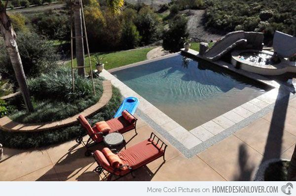 A Small Slide In This Small Square Swimming Pool Can Assure The