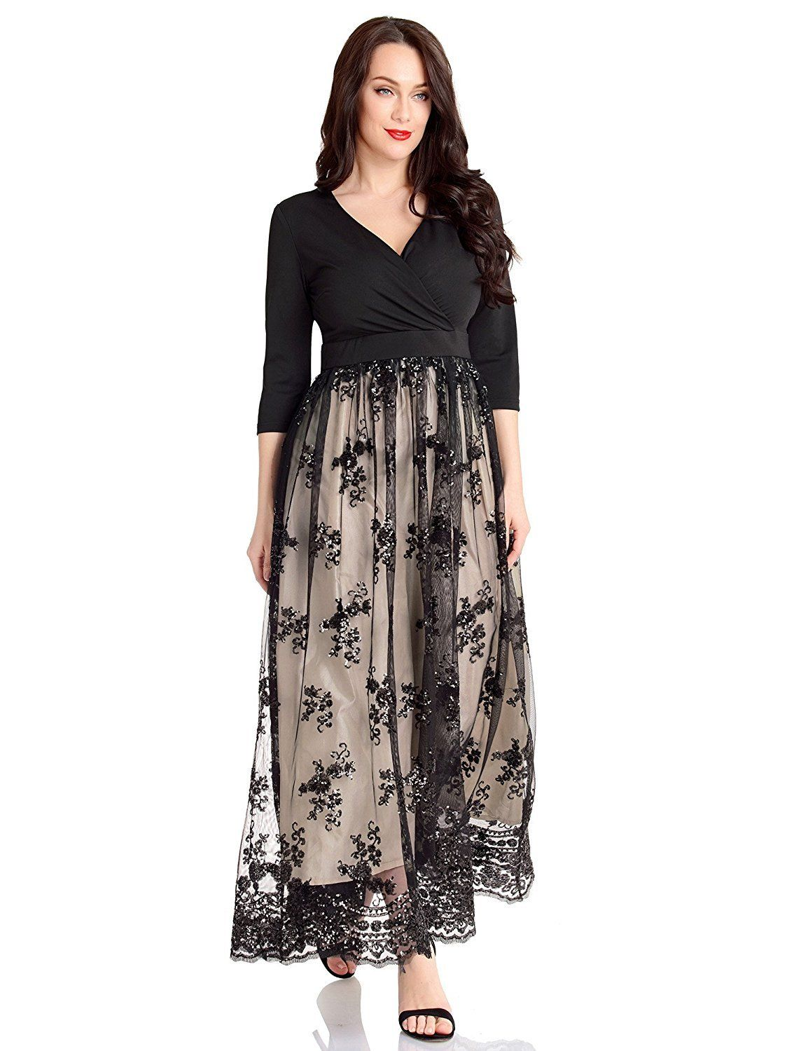 1d766afef94 This elegant long dress features a 3 4 sleeve v-neckline. High waist