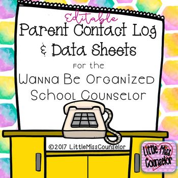Editable Parent Contact Log Data Sheets For School