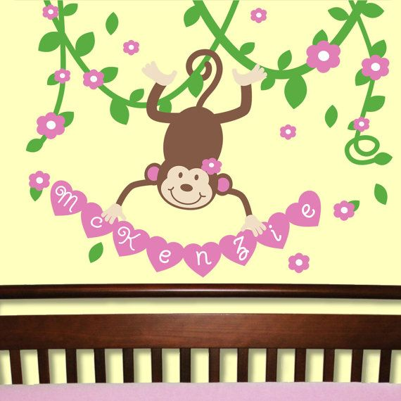 Mod Monkey Swinging On Vines With Name by onehipstickerchic, $49.95 ...