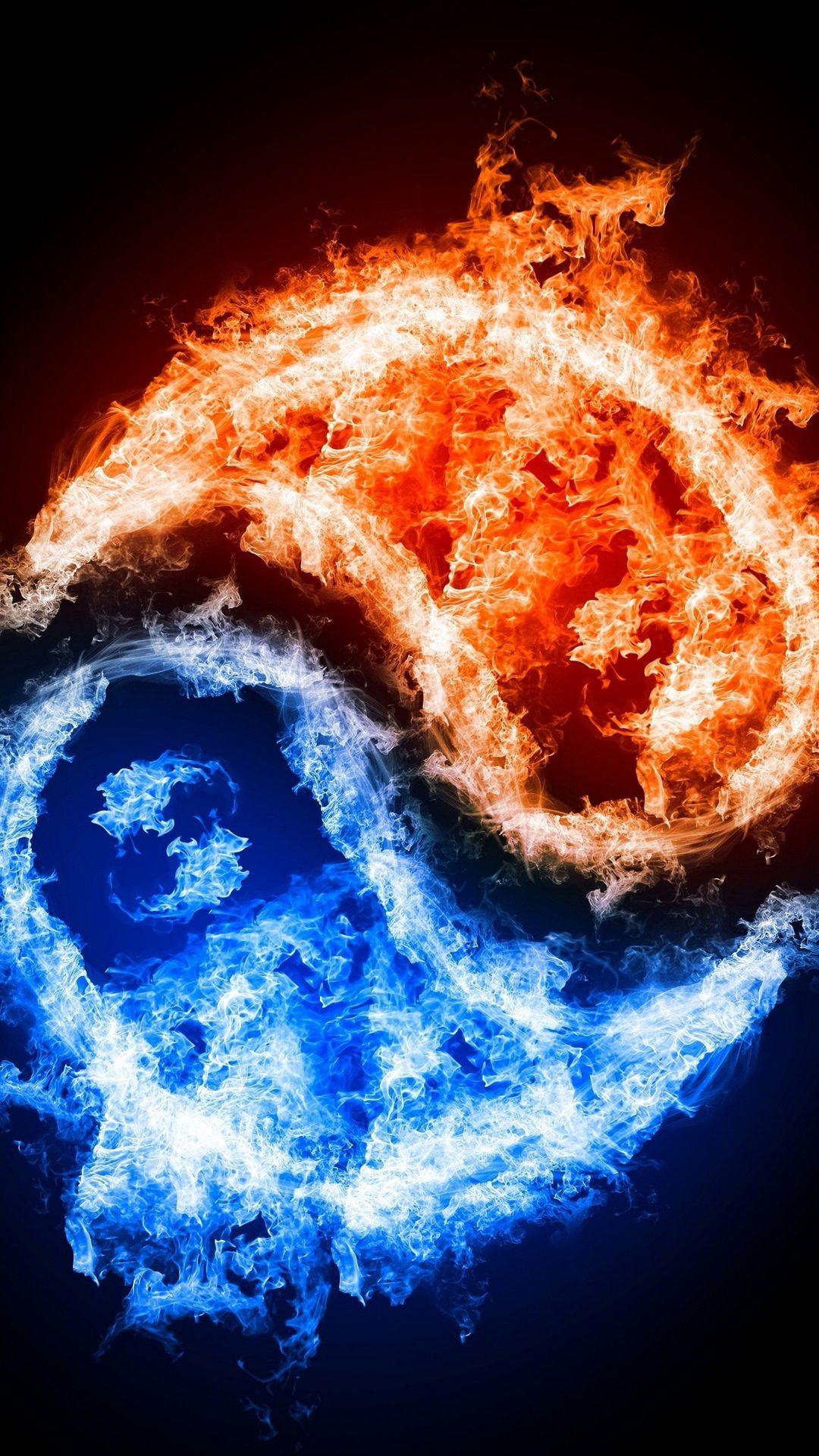 Graphique art des flammes rouges bleues iphone 6 plus for Photo fond ecran mobile