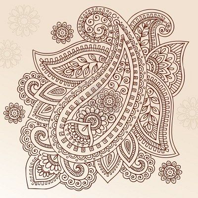 Henna Paisley Mehndi Doodles Abstract Floral Vector Illustration ...