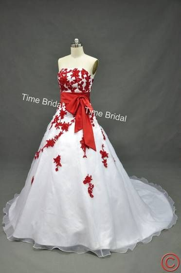 Wedding dress, white dress, red accents\