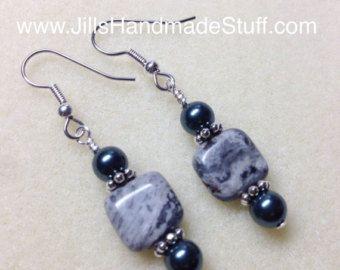 Beaded Gray Marble Dangle Earrings- Surgical Steel Wire Hook Earring- Casual Beaded Jewelry- Beaded Earrings