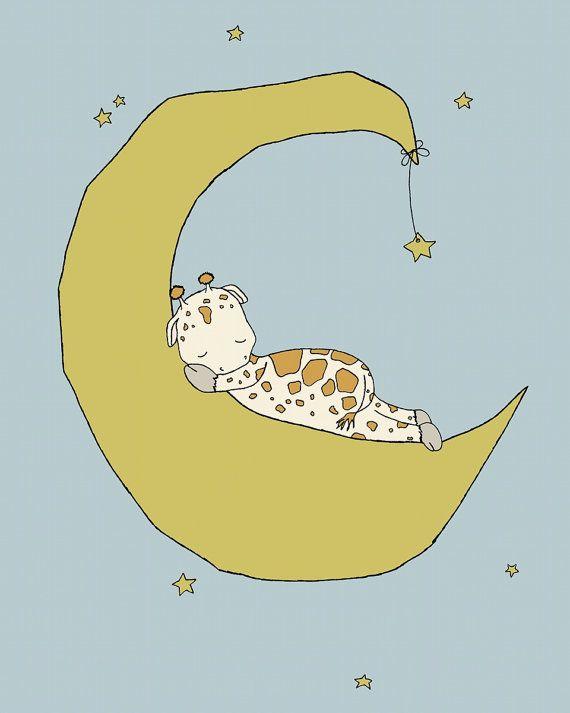 Giraffe Nursery Art -- Giraffe Moon Dream -- Star Nursery Art ...