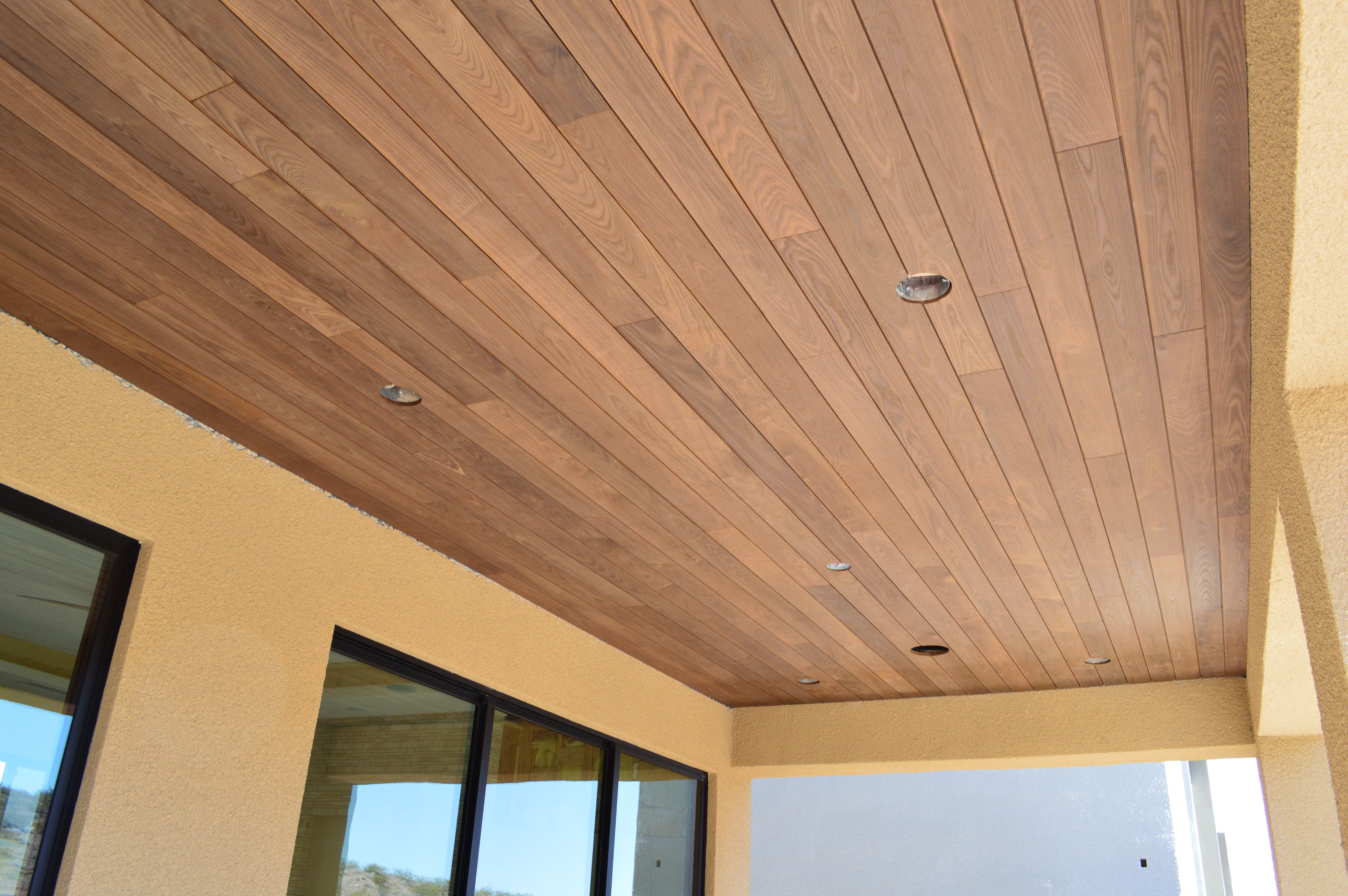 Thermory Featured On An Outside Porch Ceiling Wood Cladding