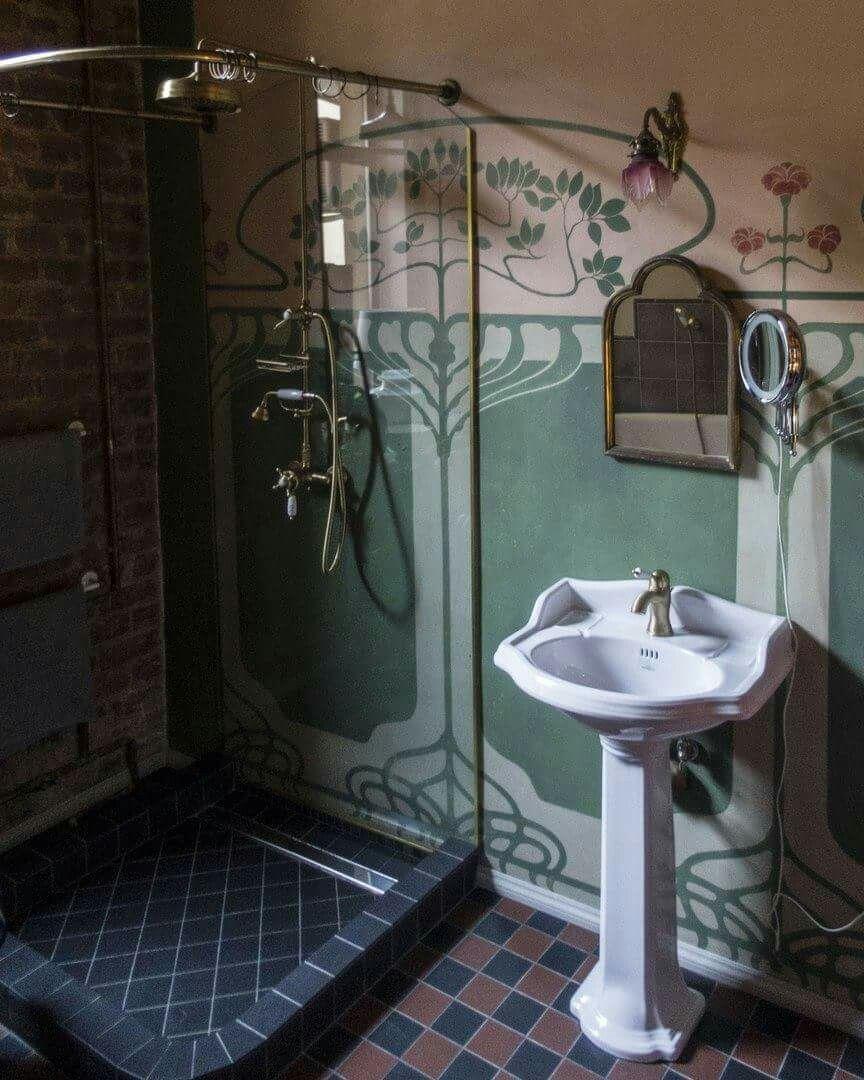 Waschen Badezimmer Badezimmer Jugendstil Jugendstil Viktorianische Tapete