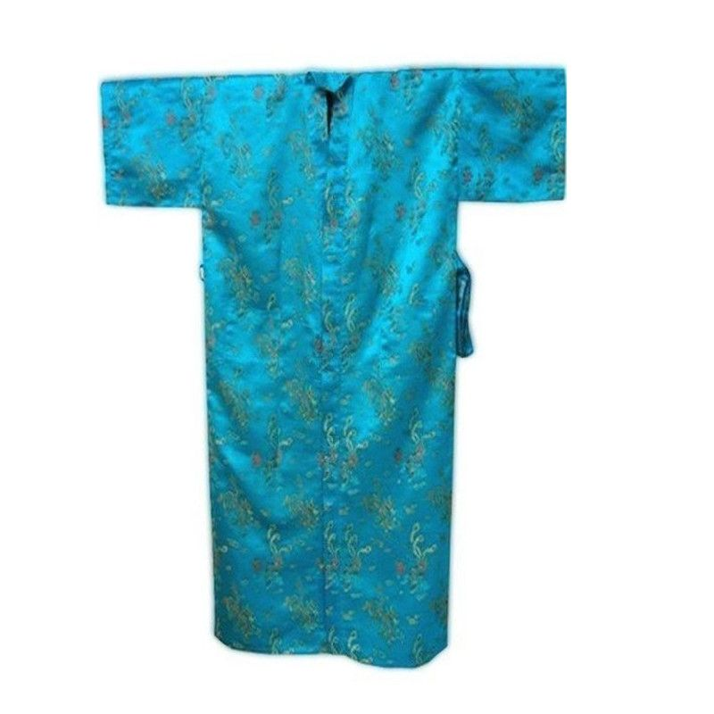 High Fashion Blue Men s Satin Silk Nightwear Chinese Novelty Bath Gown  Vintage Style Robe Free Shipping 7be2bf4f5