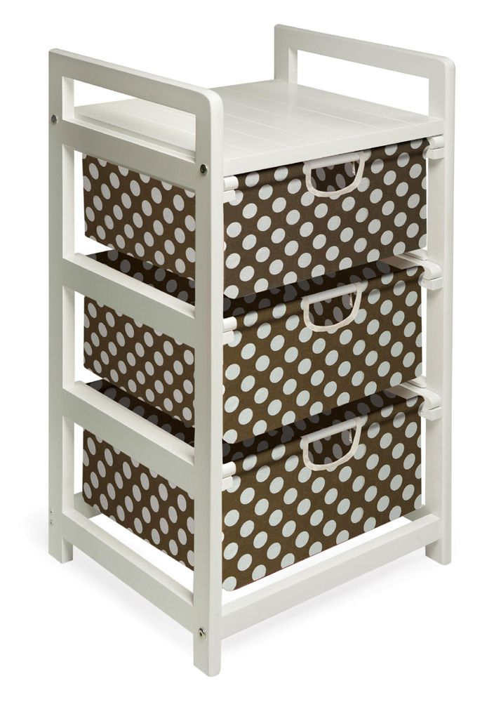 Badger Basket Lightweight Three Drawer Hamper/Storage Unit, Brown Dot  Convenient Storage For Small Spaces Or Small Items Lightweight And Easy To  Assemble ...
