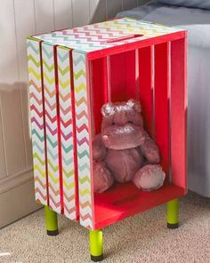 Rainbow Chevron Kid's Nightstand using Furniture Mod Podge. An easy, colorful, and useful craft. ♥ Discover the season's newest designs and inspirations. | Visit us at http://kidsbedroomideas.eu/ #furnituredesign #kidbedroom #kidsroom #kidfriendly #curateddesign #celebratedesign