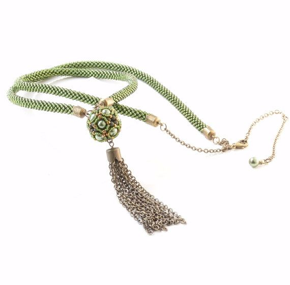 Green Tassel Necklace Beaded Rope Necklace Dangle by JPJbeaded, $120.00